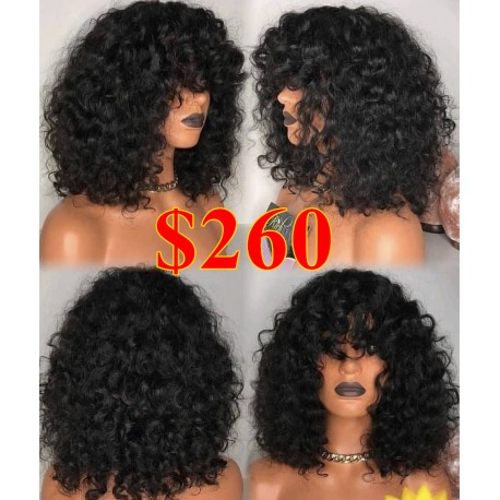 Bang curly 360 frontal wig