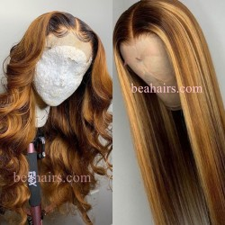 Pre-plucked Brazilian virgin ombre blonde human hair 360 frontal lace full wig---[WW757]