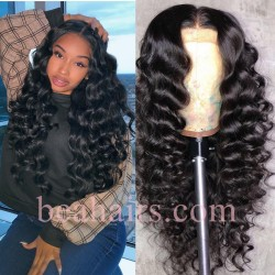 On Sale--Pre plucked Brazilian virgin Beach Wave 360 frontal lace full wig-[HY262]
