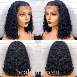 Big Sale--Pre plucked Brazilian virgin human hair middle parting curly daily bob wig-[HT288]