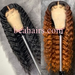 Pre-plucked Brazilian virgin natural wave human hair 360 lace frontal wig---[WW858]