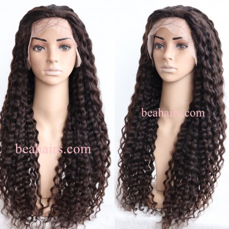 pre plucked Brazilian virgin human hair Loose Deep Curly 360 frontal lace full wig-[HT688]