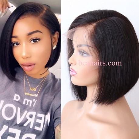 "brazilian virgin human hair 6"" lace front parting short cut side parting bob--NLW458"