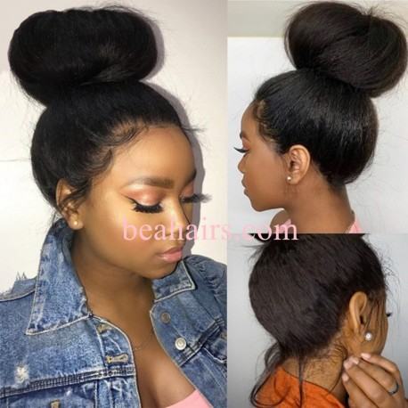 Kinky straight 370 Lace Wig Real Hair Wigs Deep Part Lace Frontal Wig--HT374